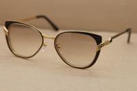 Großhandel Hot 6338248 neue Frauen Sonnenbrille Cat Eye Objektive Qualitätsmann Gläser Gläser C Dekoration Goldrahmen Größe Fahren: 51-15-135mm