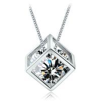 925 bijoux en cristal en argent sterling cube carré colliers déclaration pendentif diamant mariage vintage mode femme