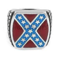 Spedizione gratuita! Monili classici American Flag anello in acciaio inox Stars Motor Biker Uomini Anello Rosso Blu Moda SWR0270H