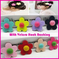 """20 adet 4.5 cm 1.75 """"Katı Şapkalar Renkli Keçe Çiçek Saç Sihirli Sopa Çocuklar Kız Saç Saçak Saç Patlama Tutucu Çıkartmalar"""