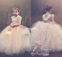 빈티지 공 가운 레이스 꽃 여자 드레스 얇은 명주 그물 뚜껑 크로스 다시 푹신한 작은 아이 첫 번째 친교 드레스