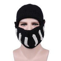 Rome Knight Mask Beanies With Bottons Wool Knitted Skull Cap...
