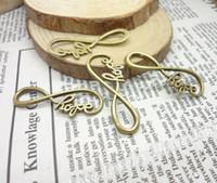 """Wholesale-60pcs / Bag Fashion Nyaste Infinity Charms """"Hope"""" Att göra för Infinity Symbol Smycken 13 * 39mm F904"""