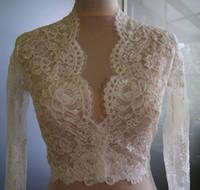 Düğün Bolero-üst-ceket Gelin Uzun Kollu Dantel Ceket Beyaz Custom Made