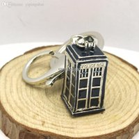 Venta al por mayor-Freeshipping mucho antiguo collar de plata TARDIS Doctor Who llaveros