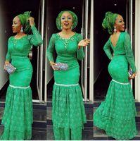 Mangas compridas Vestidos de noite de renda verde Plus size 2016 Aso Ebi estilo vestidos de noite abertos de volta sexy África moda vestidos de baile