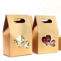 DHL 150pcs / lot 10.5 * 15 + 6cm Kraft caja de papel de mano con mango de regalo del corazón Ventana Borrar bolso del embalaje para la boda del caramelo del favor del chocolate del paquete