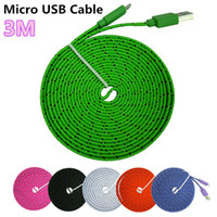 Flat Noodle Nylon Charger Cable Fabric Braided Micro USB Cha...