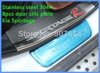 Reposapiés de puerta de doble tono de acero inoxidable de alta calidad, barra de placa de desgaste (4pcs buit-in + 4pcs build-out) para Kia Sportage 2011-2014