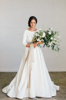 New Boho A-Linie weicher Satin Modest Brautkleider mit 3/4 Ärmeln wulstige Blet Low Back Country-Brautkleider 2020 nach Maß Couture