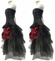 Rote und schwarze Blumen Gothic Korsett hohe niedrige Abschlussball-Kleider 2017 Steampunk Outfit trägerlose Hallo Lo Bustle Partei-Kleider
