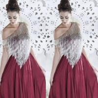 2015 Wine Red Evening Dresses Silver Tassels Asymmetrical Neckline Chiffon Floor-Length Prom Party Dresses vestido de formatura