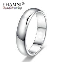 Yhamni perdere denaro promozione vera anelli in oro bianco puro per donne e uomini con bollo da 18 kgp 5mm di alta qualità oro colore gioielli BR050