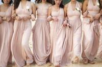 مثير المكشوفة نمط شاطئ وصيفة الشرف فساتين جونيور الإمبراطورية طويل استحى الوردي مطوي الشيفون شاطئ فساتين bridemaid 2019
