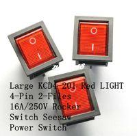 Livraison gratuite Red Rocker Switch KCD4-201 4 pieds 2 fichiers interrupteur à bascule lumineux 16A / 250V (100Pcs / Lot)