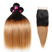 Fasci di capelli biondi peruviani con chiusura capelli vergini 9A con chiusura di pizzo capelli umani Ombre dritto con pacchi