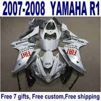 YAMAHA YZF R1 2007 용 핫 ABS 페어링 키트 2008 년 실버 화이트 블랙 고품질 페어링 세트 YZF-R1 07 08 YQ44