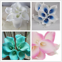 En Kaliteli 1 Pack / lot 100 adet Gerçek Dokunmatik Lily Calla PVC Yapay Çiçek Buketleri Ev Düğün Gelin Dekor Birçok Renkler