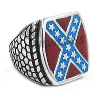 Spedizione gratuita! Monili classici American Flag anello in acciaio inox di moda Rosso Blu Stars Motor Biker Uomini Anello SWR0270HB