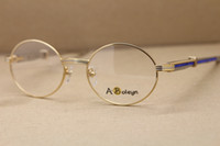 Homens Diamante azul inox óculos de aço óculos armações óculos de ouro prata armação de metal ouro Eyewear C Decoração moldura de ouro Tamanho: 55-22