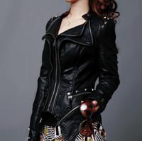 Atacado-novo womens punk spike streeted ombro pu jaqueta de couro zíper casaco tamanho s xl