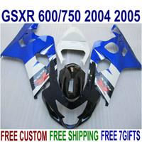 Juego de carrocería de alta calidad para Suzuki GSXR600 GSXR750 04 05 Ferias K4 GSX-R600 / 750 2004 2005 Blue White Blue Black Kit QE21