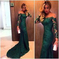 Zümrüt Yeşil Sheer Boyun Abiye Uzun Kollu Ruffles Custom made ile gerçek resim Mermaid Balo Abiye 2016 vestidos de Festa
