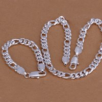 Yüksek dereceli 925 gümüş 10MM üç bir parça '- Erkekler takı seti DFMSS097 yepyeni Fabrikası 925 silve kolye bilezik yönlendirmek