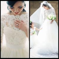 2015 새로운 도착 긴 소매 빈티지 레이스 라인 Tulle 웨딩 드레스 로맨틱 한 신부 가운