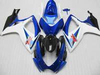 Customize for Suzuki GSXR 600 750 Fairing kit GSXR600 GSXR750 fairings 2006 2007 06 07 Blue white Fairings