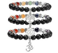 Nuovo 7 Chakra Lava-rock Bead Bracciale Albero della vita Braccialetti di fascino Healing Balance Beads Gioielli in pietra naturale Yogo Good Gift