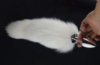 ホワイトフォックステールバットプラグ35cmアナルプラグメタルバットプラグアナルセックスおもちゃ7.5cm 8.5cm 4.5cmプラグ