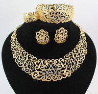 Necklace Bracelet Earring Rings African Jewelry Sets Fashion 18K Gold Plated Flower Rhinestone Wedding Party Set