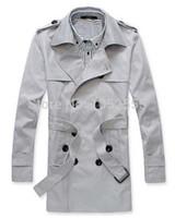 Automne-COOL SMART Trench élégant des hommes hiver longue veste double boutonnage pardessus tops en 3 couleurs taille M L XL XXL MN404Z6