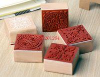 Ücretsiz Kargo 600 adet / grup 2015 Yeni 4x4 CM tatlı dantel serisi ahşap yuvarlak damga kare şekli hediye damga
