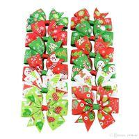 Bebê de Natal Bebê Cabelo Clipes Grosgrain Ribbon Arcos Com Clip Snow Girl Pinwheel Hairpins Acessórios de Hair-Pin