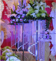 Venta a granel Elegante Espumoso Cristal claro guirnalda araña boda pastel soporte cumpleaños fiesta suministros decoraciones para mesa centerp centerp