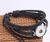 Silver Plated brown or black leather snap Bracelets Fit Snap...
