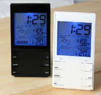 """패션 실내 HTC 2s 높은 정밀도 3.4 """"듀얼 센서와 함께 알람 시계 알람 시계 화이트 전자 온도계 블랙 화이트"""