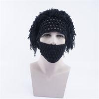 Зима новые шапочки шапка мужская вязаная шапка наружная шерсть теплая шляпа ручной работы усы Хэллоуин парик крышки на открытом воздухе голова