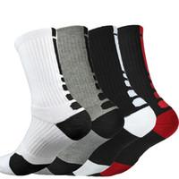 Chaussettes de basket-ball épaississant Serviette Bas Chaussettes Hommes Elite Longs Extérieur Sports Chaussettes Hautes 6 couleurs livraison gratuite