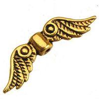hallazgos de joyería alas de ángel cuentas de espaciadores pulseras collares hechos a mano diy vintage plata oro plana de metal 23 * 6mm 400 unids envío gratis