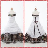 Custom 2015 Spaghetti Neck Camo Flower Girls Vestidos palabra de longitud con cuentas lentejuelas volantes Vestidos de fiesta para las niñas Vestidos de regalo de cumpleaños