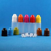 100 sets 10ml 1/3 OZ Flacons compte-gouttes en plastique avec capuchons anti-enfants LDPE Liquides E Jus de vapeur CIG HUILE 10 ml