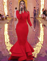 Elegant celebrity red long sleeve evening gowns v neck ruche...