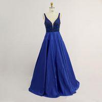 Photos réelles 2017 Royal Blue Une ligne Robes de bal Shiny perles satin pailleté personnalisé robe de soirée formelle longue Abendkleider