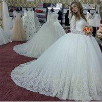 Великолепные Длинные Рукава Арабский Высокая Шея Свадебные Платья Аппликации Из Бисера Длинные Свадебные Бальное Платье Свадебные Платья Фарфора