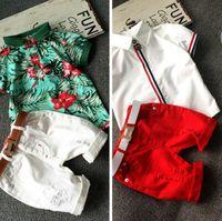 Moda nueva ropa de niños conjunto bebé niño camiseta de algodón pantalones cortos conjunto de niños para verano niño ropa de dibujos animados se adapta a 2 colores 2-7T