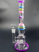 36cm Bong En Verre Borosilicate Colorfull Fumer Pipe Tuyau D'eau Splash Garde Nid D'abeille Percolateurs Barrel Stemline Perc 18.8mm
