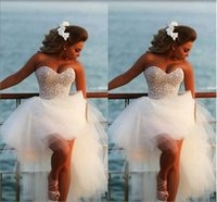 Hi Lo Prom Dresses with Beads Sweetheart Corset Puffy Tulle ...